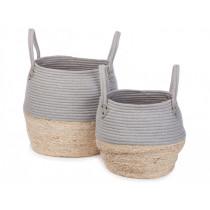 KidsDepot Woven Basket Set Kori GREY