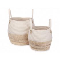 KidsDepot Woven Basket Set Kori WHITE