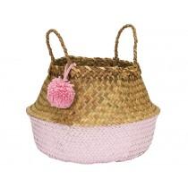 KidsDepot raffia basket POMPOM PINK M