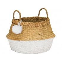 KidsDepot raffia basket POMPOM WHITE M
