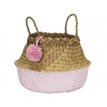 KidsDepot raffia basket POMPOM PINK L