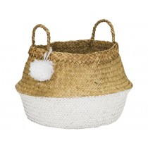 KidsDepot raffia basket POMPOM WHITE L