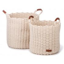 KidsDepot Woven Basket Set KORBO L white