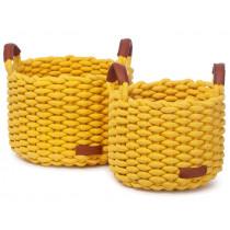 KidsDepot Woven Basket Set KORBO M yellow