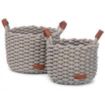KidsDepot Woven Basket Set KORBO M grey