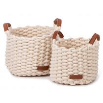 KidsDepot Woven Basket Set KORBO M white