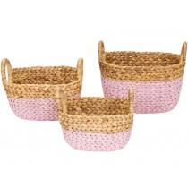 KidsDepot raffia basket SET PINK