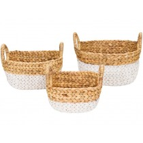 KidsDepot raffia basket SET WHITE