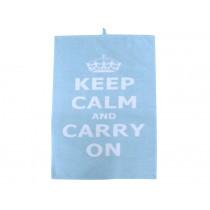 Krasilnikoff tea towel Keep calm blue