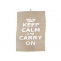 Krasilnikoff tea towel Keep calm taupe
