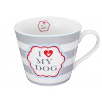 Krasilnikoff Happy Cup I love my dog stripes