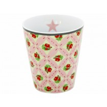 Krasilnikoff Happy Mug pink check flower