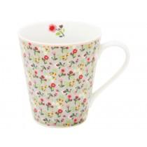 Krasilnikoff Happy Mug with handle flowers grey