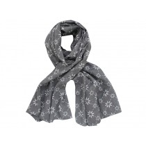 Krasilnikoff scarf charcoal with diagonal flower print