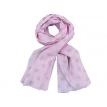 Krasilnikoff scarf pink wih taupe stars