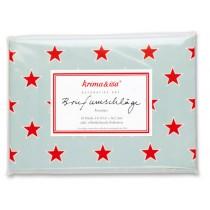krima & isa envelope set stars turquoise/red