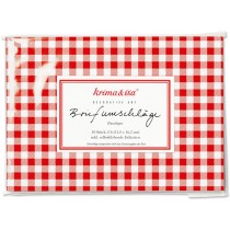 krima & isa envelope set CHECKS red white