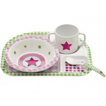Melamine tableware set with star in magenta by Lässig