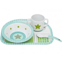 Melamine tableware set with star in olive by Lässig