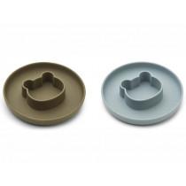 LIEWOOD 2 Silicone Plate Set Gordon BEAR blue fog & khaki