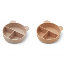 LIEWOOD 2 Silicone Divider Bowls CONNIE rose mix