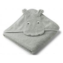 LIEWOOD Hooded Towel ALBERT Hippo dove blue