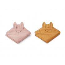 LIEWOOD Hooded Towel ALBERT 2 Pack Rabbit rose mix