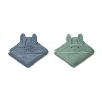 LIEWOOD Hooded Towel ALBERT 2 Pack Rabbit blue mix