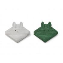 LIEWOOD Hooded Towel ALBERT 2 Pack Rabbit dumbo grey mix