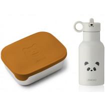 LIEWOOD Lunch Box Set JONI Mr. Bear mustard/Panda light grey mix