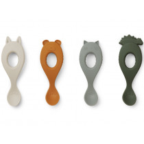 LIEWOOD 4 Silicone Spoons LIVA hunter green