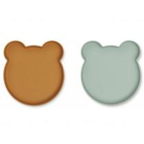 LIEWOOD Plate Marty BEAR mustard/peppermint mix