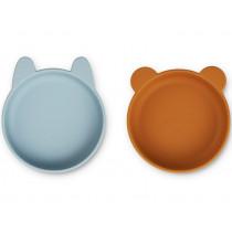 LIEWOOD 2 Silicone Bowls VANESSA Sea Blue/Mustard