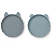 LIEWOOD 2 Silicone Plate Set OLIVIA Blue Mix