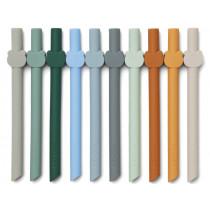 LIEWOOD 10 Silicone Straws BADU Blue Multi Mix