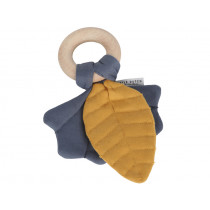 Little Dutch Crinkle Soother Pure & Nature LEAFS blue-mustard