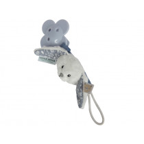 Little Dutch Pacifier Clip RABBIT blue