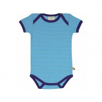 loud + proud short sleeve bodysuit stripes aqua