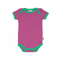 loud + proud short sleeve bodysuit stripes fuchsia