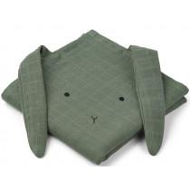 LIEWOOD Burp Cloth Hannah 2 Pack BUNNY faune green