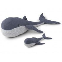 LIEWOOD Knitted Toy Doby Teddy WHALES blue wave