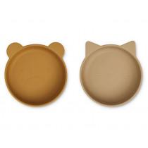 LIEWOOD 2 Silicone Bowls VANESSA Golden Caramel/Oat Mix