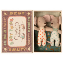 Maileg Baby Mice TWINS DOTS in Cigarbox