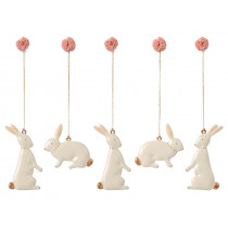Maileg 5 Metal Ornaments EASTER BUNNY