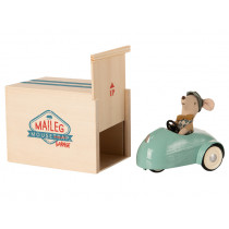 Maileg Mouse Little Brother with CAR & GARAGE blue