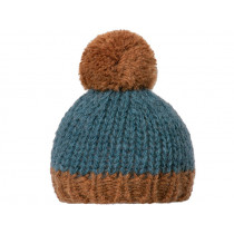 Maileg KNITTED HAT petrol/brown
