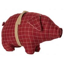 Maileg Pig CHECKERED Medium red
