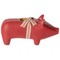 Maileg WOODEN PIG Medium red