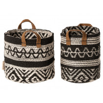 Maileg 2 Miniature BASKETS black