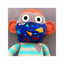 Hickups Fabric Mask KIDS Dinos blue
